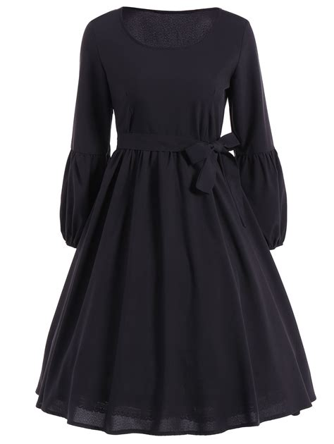 Sleeve Belted Dress belted ruffled puff sleeve vintage dress in black