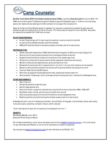 counselor description for resume cover letter youth counselor position