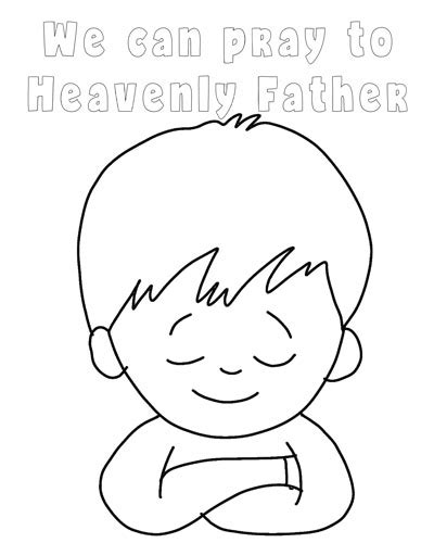 coloring page of little boy praying primary latterdayvillage