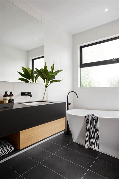 White And Black Tiles For Bathroom by Modern Black And White Bathroom With Black Tile Matte