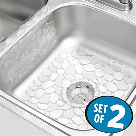 Kitchen Sink Protectors Mdesign Pebbles Kitchen Sink Protector Mat And Sink Divider Protector Pack Of 2 Clear Home