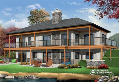 modern rustic cottage house plan  large covered