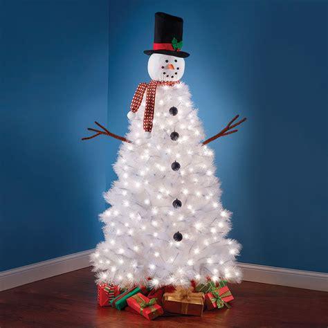green head christmas tree snow fall illuminated snowman tree the green