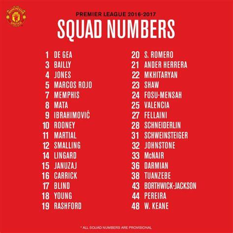 Jersey Manchester United Mu Home Musim 2017 2018 nomor punggung skuad manchester united musim 2017 2018