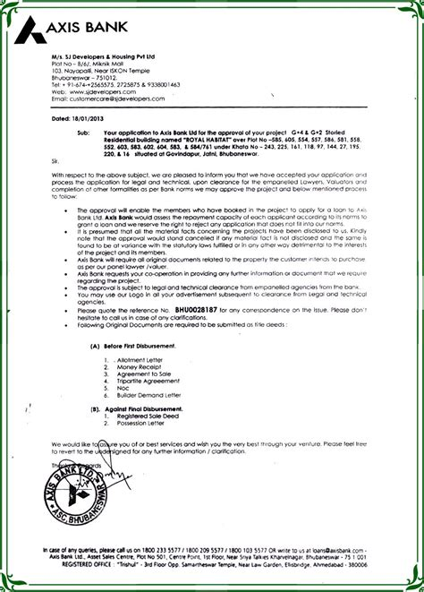 Project Loan Application Letter Axis Bank Approval