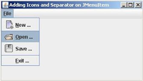 java swing separator all java code sle adding icons jmenuitem and separator