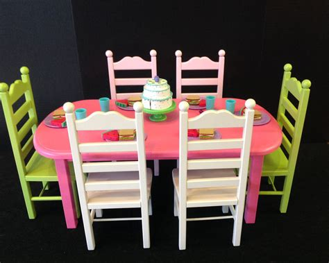 american doll table and chairs american doll table 6 chair set pink and green