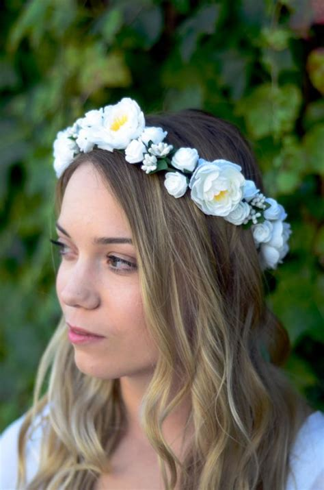 White Budroses Flower Crown 1 the bridal white flower crown floral wreath woodland rustic circlet wedding