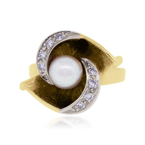 14k yellow gold 15ctw 6mm pearl ring
