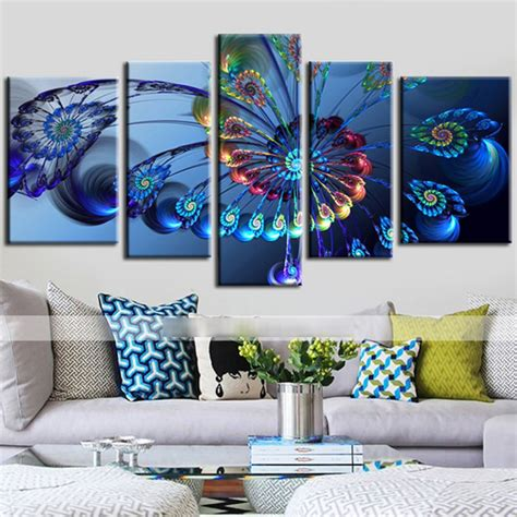 artistic home decor aliexpress buy 5 panels canvas peacock feather