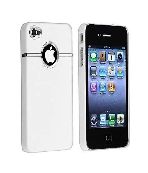 h iphone 4s rka deluxe w chrome rubberized snapon back cover for apple iphone 4 4s white plain
