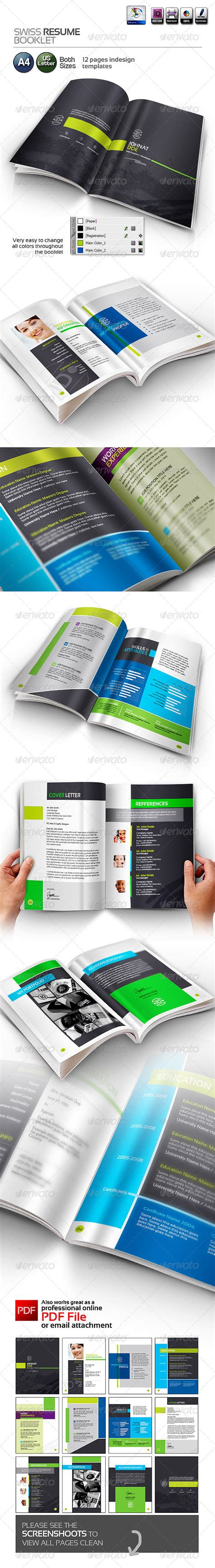 resume booklet template print templates swiss resume booklet graphicriver