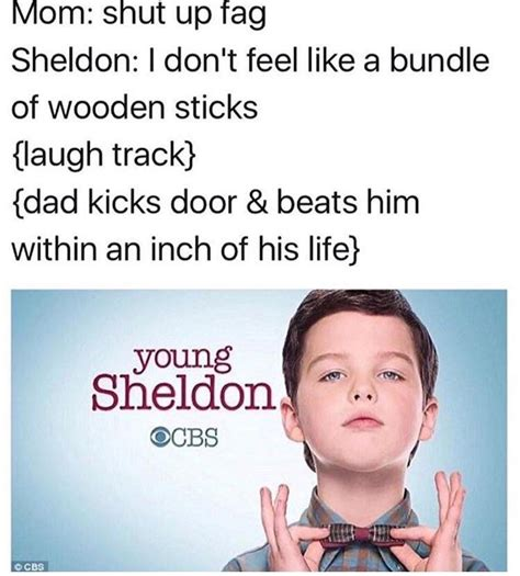 Young Sheldon Memes - quot i don t feel like a bundle of sticks quot young sheldon know your meme