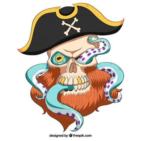 boat without mask clipart pirate captain skull background with octopus feet vector