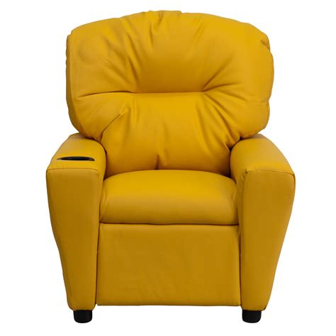 yellow recliner contemporary yellow vinyl kids recliner with cup holder bt