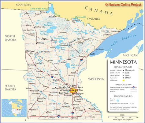 minnesota on the map of usa minnesota map travel across the usa