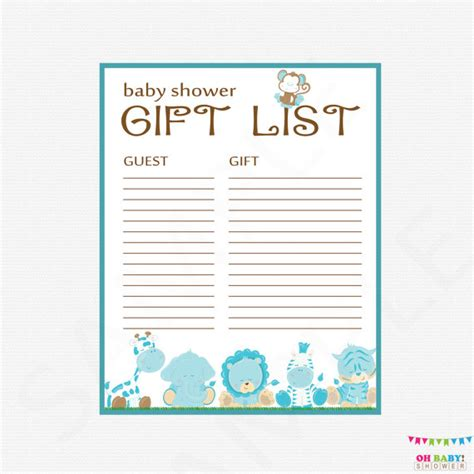 baby shower gift list template safari baby shower gift list printable gift list baby shower