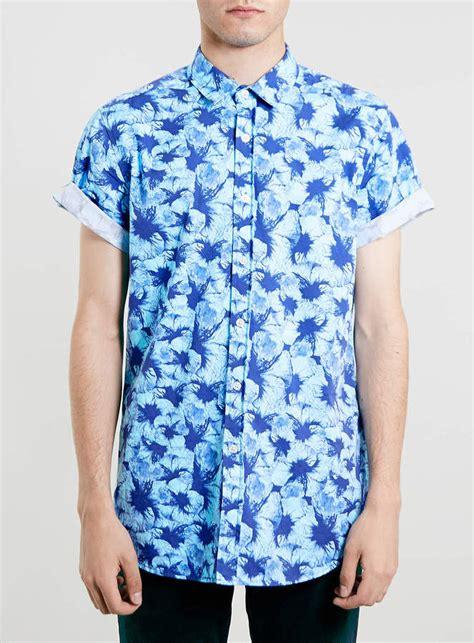 Blue Floral Shirt Mens Custom Shirt Blue Flower Sleeve