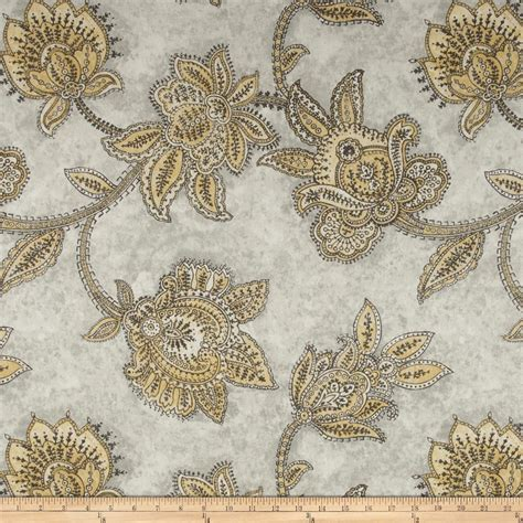 Jacobean Upholstery Fabric by Richloom Tazzoni Jacobean Yellow Grey Discount Designer