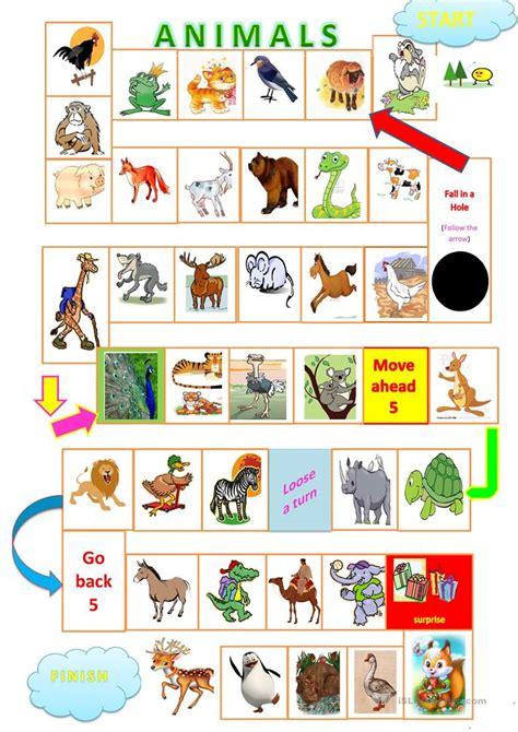 printable games learning english animals board game worksheet free esl printable