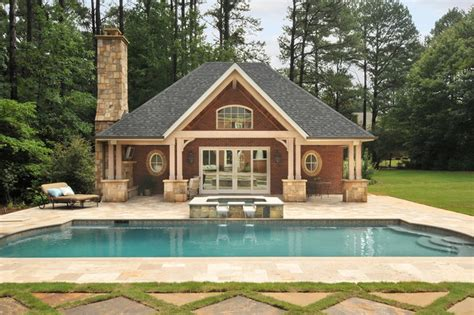 Cottage House Plans With Garage by Pool House Traditional Pool Atlanta By Innovative