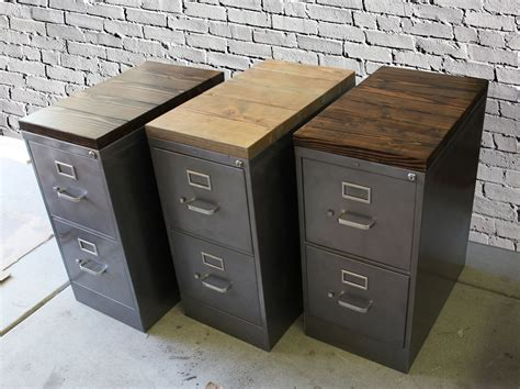 2 Drawer Filing Cabinet Metal by Refinished 2 Drawer Letter Size Metal Filing Cabinet W Wood