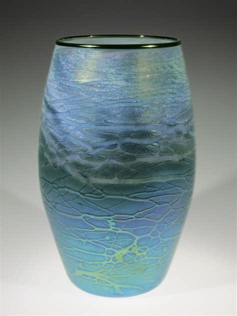 Big Glass Vase by Blue Green Cylinder By Tom Stoenner Glass Vase Artful Home