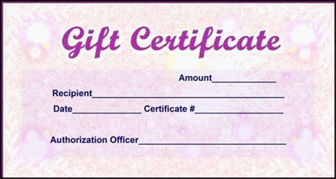 e gift card electronic certificate template pink gift certificate