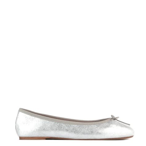 silver ballet flat shoes elia b stefania silver leather ballet flat