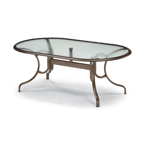 Patio Tables by Telescope Casual 43 X 75 Inch Oval Glass Top Patio Dining