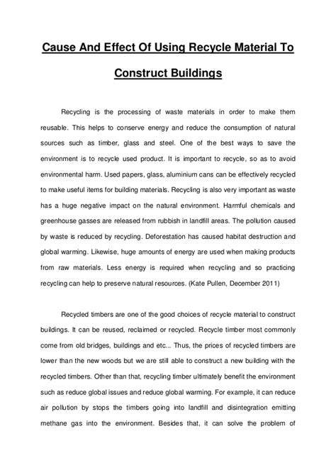 Persuasive Essay Recycling by Essay Recycle Product To Construct Buildings