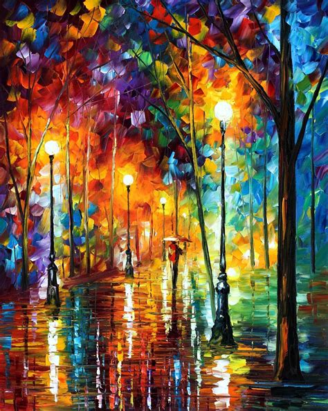 colorful painting late stroll 2 palette knife painting on canvas by