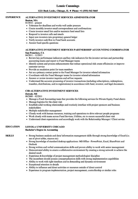 alternative resume formats alternative investment services resume sles velvet