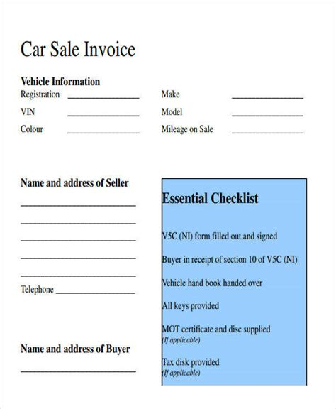 13 Sales Invoice Templates Sle Templates Car Sales Template