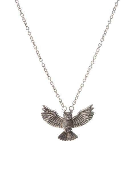 Pendant At Asos by Asos Collection Asos Owl Pendant Necklace In Metallic For