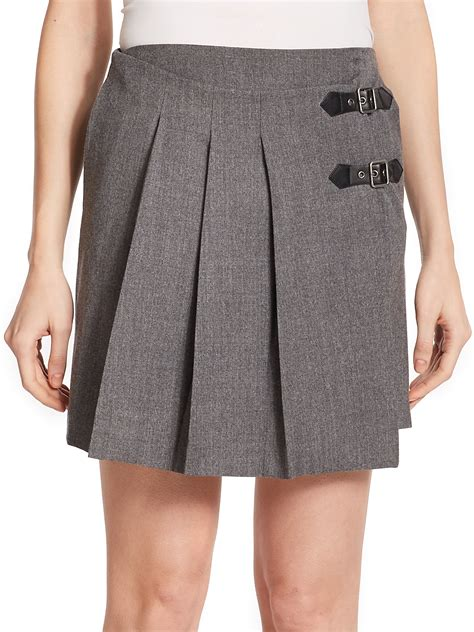 marc by marc pleated wool wrap skirt in gray lyst