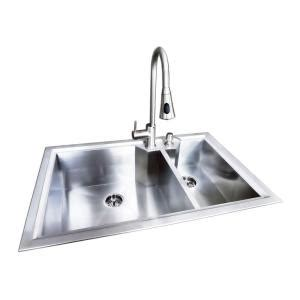 Glacier Bay Stainless Steel Kitchen Sink Glacier Bay Dual Mount Stainless Steel 33 In 2 Bowl Fabricated Offset Kitchen Sink