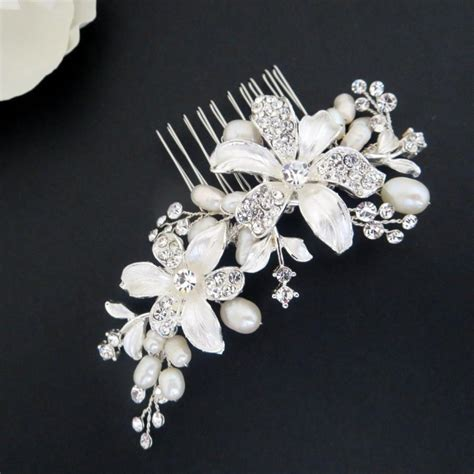 Hair Comb Flowers And Pearls Lh002 freshwater pearl wedding hair comb flower hair comb