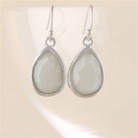 white opal earrings silver white opal teardrop earrings by baronessa