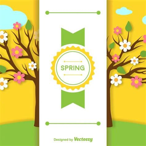 free vector spring background label template 19731 my
