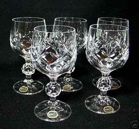 Crystal Wine Glasses 6 vintage bohemia crystal wine glasses czech republic