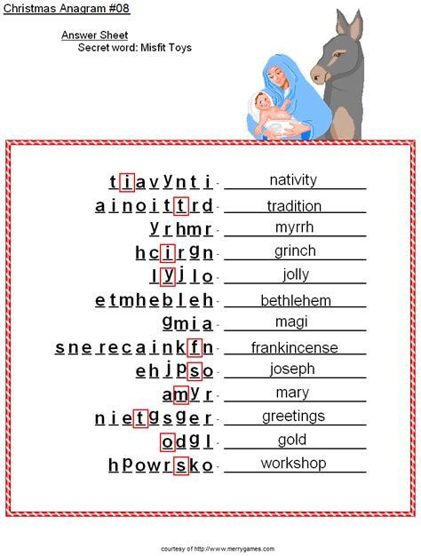 printable christmas anagrams baby jesus and mary anagram answer sheet christmas