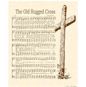 rugged cross 8 x 10 antique hymn print by