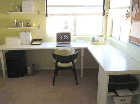 Diy L Shaped Desk Diy Desk From Doors Office And Organizational Tips Pinterest