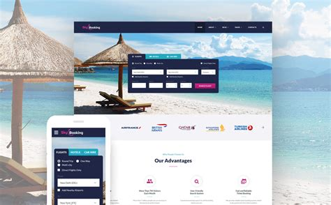 Skybooking Online Travel Agency Bootstrap Template Travel Booking Website Templates Free