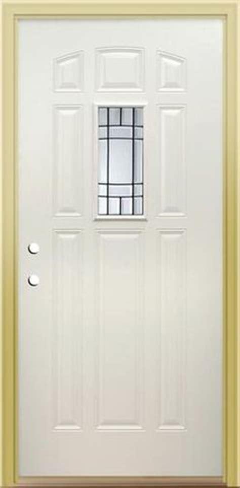 Oak Finish Steel Entry Door With Mission Style Glass Panel Menards Mastercraft Exterior Doors