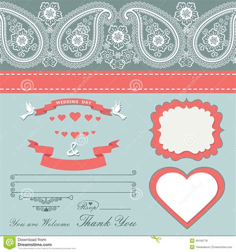 Wedding Design Template With Paisley Border Cartoon Hearts Stock Vector Image 40146778 Paisley Wedding Invitation Template