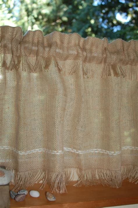 colored burlap curtains rustic chic fringed burlap cafe curtain panels set of two or