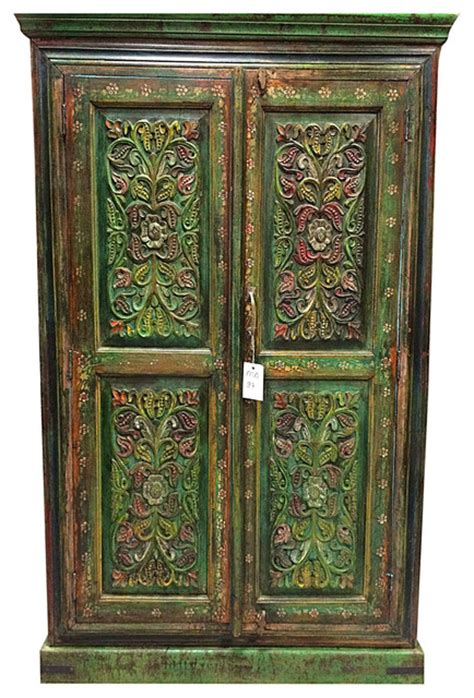hand painted armoire furniture floral carved wood armoire hand painted cabinet indian