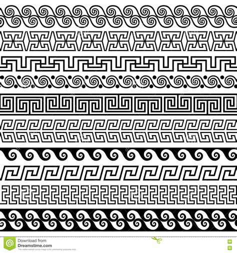 greek pattern brush set of brushes to create the greek meander patterns stock